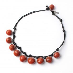 Collana con perle in ceramica e smalto Rosso Corallo