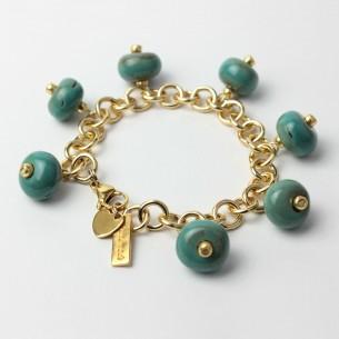 Bracciale stile Tiffany con perle azzurre